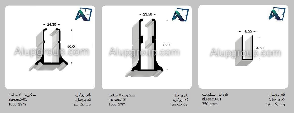پروفیل آلومینیوم- شیشه سکوریت و دوجداره